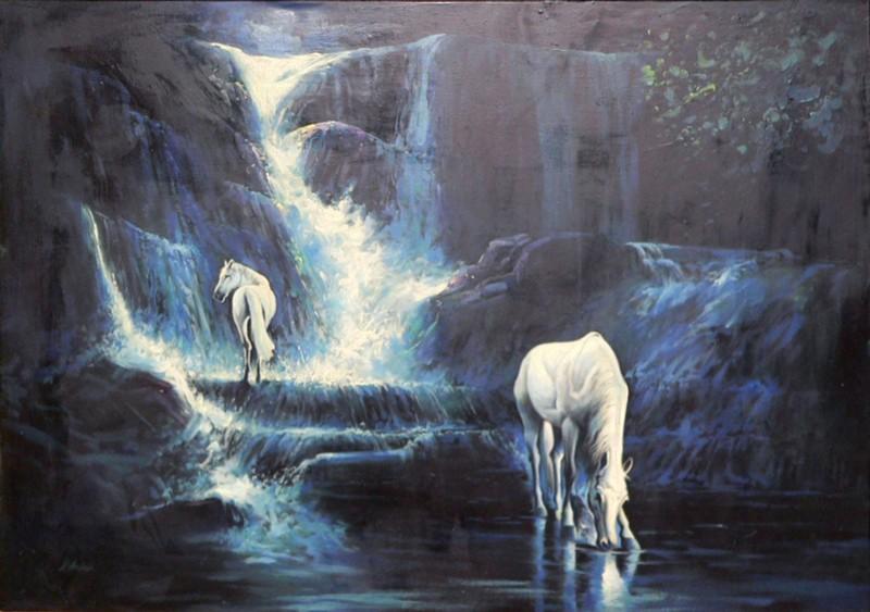 تصویر نقاشی طبیعت با اسب بعد از مرمت