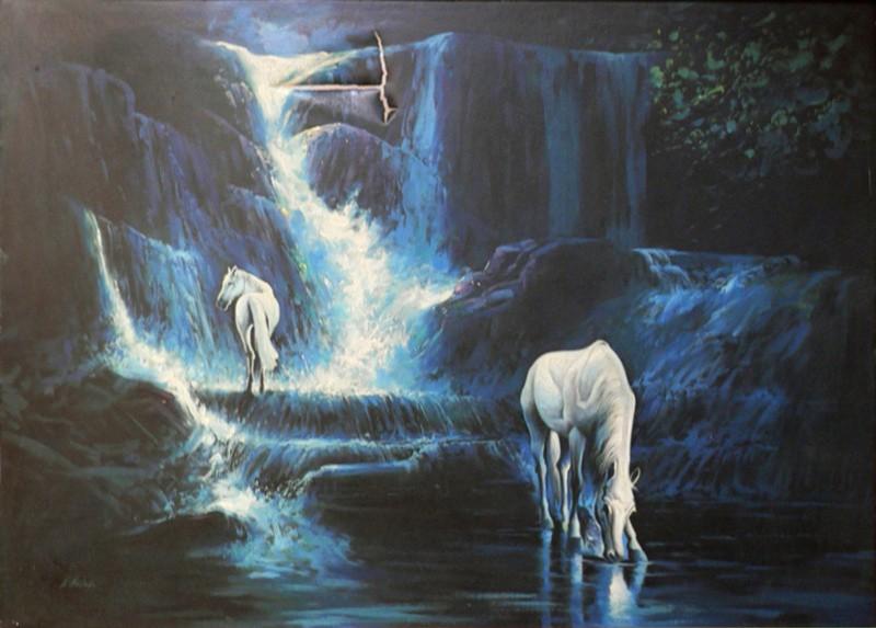 تصویر نقاشی طبیعت با اسب قبل از مرمت
